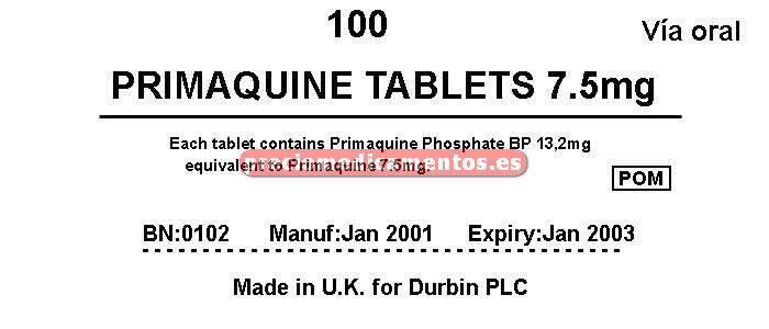 Caja PRIMAQUINE 7.5 mg comprimidos