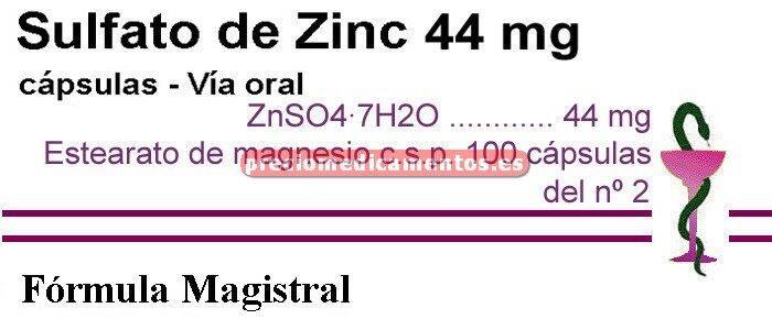 Caja ZINC SULFATO 44 mg 100 cáps ZnSO4·7H2O (F. Mag.)