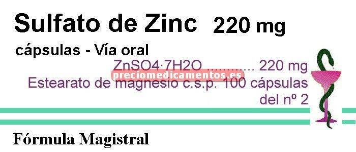 Caja ZINC SULFATO 220 mg 100 cáps ZnSO4·7H2O (F. Mag.)