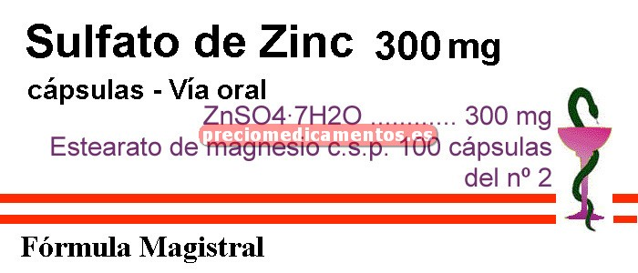 Caja ZINC SULFATO 300 mg 100 cáps ZnSO4·7H2O (F. Mag.)