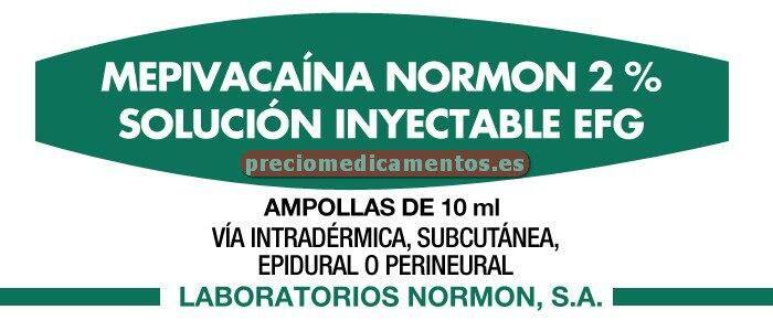 Caja MEPIVACAINA NORMON 2% EFG 100 ampollas 10 ml
