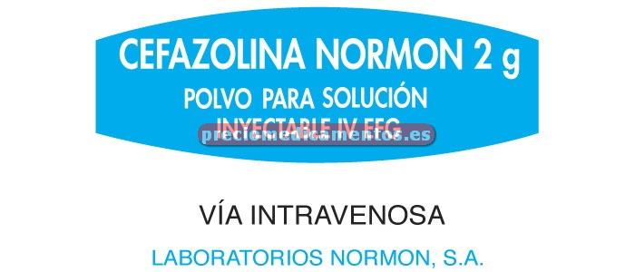 Caja CEFAZOLINA NORMON EFG 2 g IV 100 viales