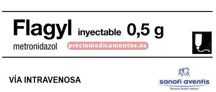 Caja FLAGYL 5 mg/ml 500 mg IV 50 bolsas viaflo 100 ml