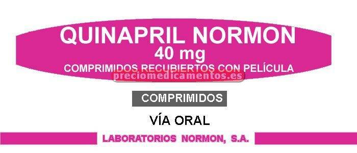 Caja QUINAPRIL NORMON EFG 40 mg 28 comprimidos recub
