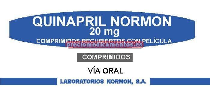 Caja QUINAPRIL NORMON EFG 20 mg 28 comprimidos recub