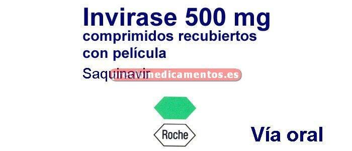 Caja INVIRASE 500 mg 120 comprimidos recubiertos