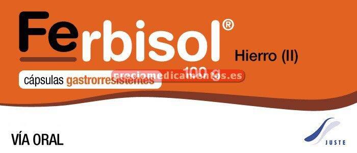 Caja FERBISOL 567,66 mg (100 mg Fe) 50 cápsulas gastror