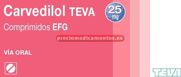 Caja CARVEDILOL TEVA EFG 25 mg 28 comprimidos