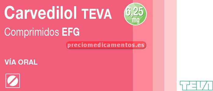 Caja CARVEDILOL TEVA EFG 6.25 mg 28 comprimidos