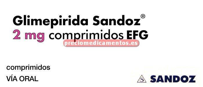Caja GLIMEPIRIDA SANDOZ EFG 2 mg 120 comprimidos