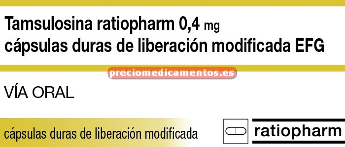 Caja TAMSULOSINA RATIOPHARM EFG 0,4 mg 30 cáps lib mod