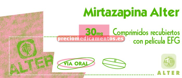 Caja MIRTAZAPINA ALTER EFG 30 mg 30 comprimidos recub