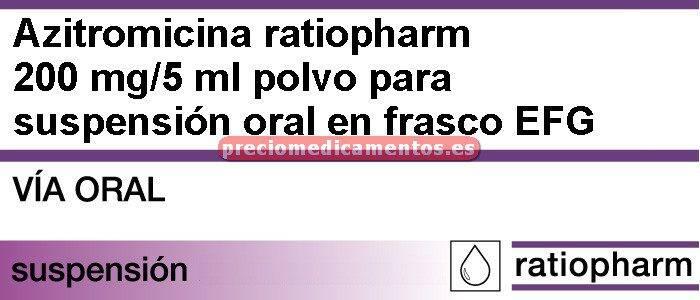 Caja AZITROMICINA RATIOPHARM EFG 200 mg/5 ml susp 30 ml