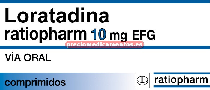 Caja LORATADINA RATIOPHARM EFG 10 mg 20 comprimidos