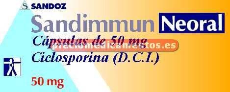 Caja SANDIMMUN NEORAL 50 mg 30 cápsulas microemulsión