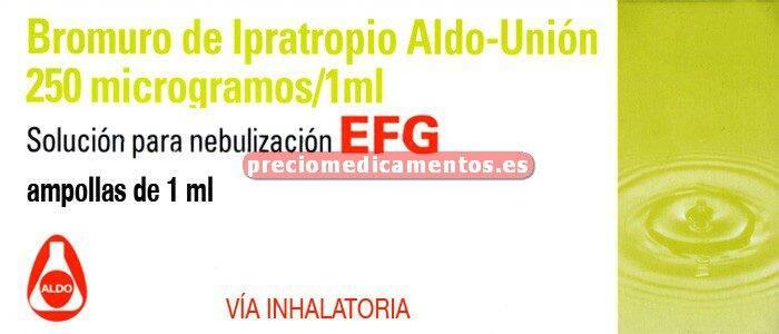 Caja BROMURO IPRATROPIO ALDO UNION 250 mcg 20 env 1ml