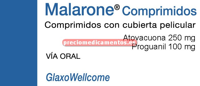"""Caja MALARONE """"100/250"""" mg 12 comprimidos ADULTOS"""