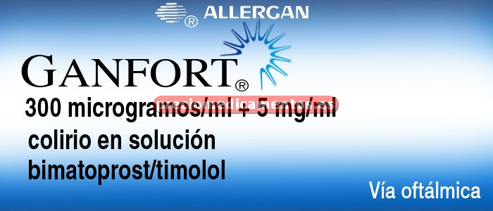 Caja GANFORT 300 mcg/ml - 5 mg/ml colirio 3 ml
