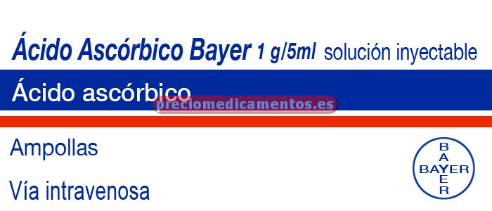 Caja ÁCIDO ASCÓRBICO BAYER 1 g 6 ampollas 5 ml
