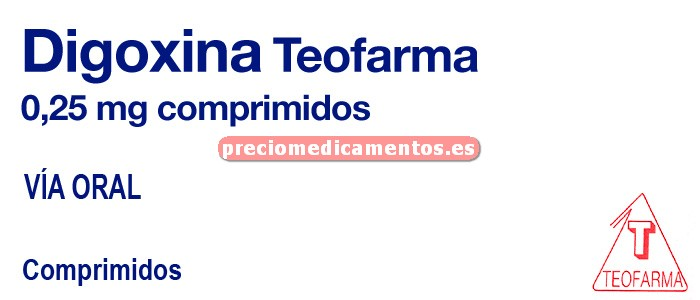 Caja DIGOXINA TEOFARMA 0.25 mg 50 comprimidos