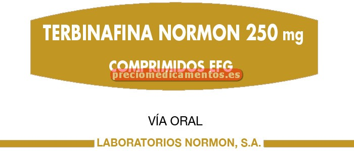 Caja TERBINAFINA NORMON EFG 250 mg 28 comprimidos