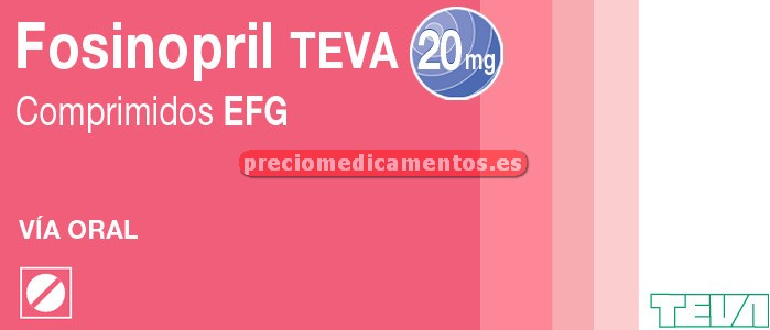 Caja FOSINOPRIL TEVA EFG 20 mg 28 comprimidos