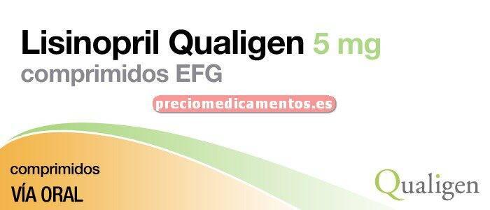 Caja LISINOPRIL QUALIGEN EFG 5 mg 60 comprimidos