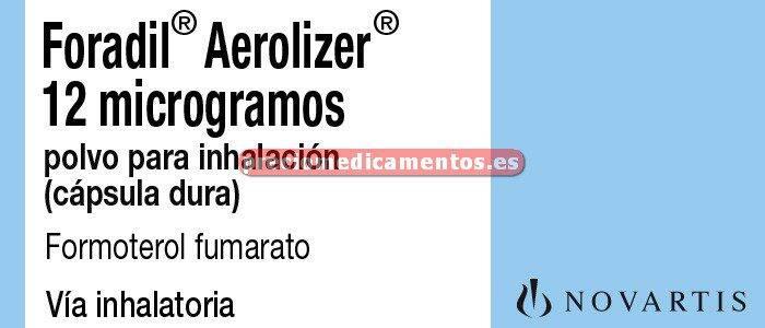 Caja FORADIL AEROLIZER 12 mcg 60 cáps inhal-inhalador