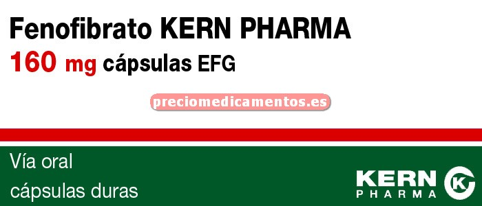 Caja FENOFIBRATO KERN PHARMA EFG 160 mg 30 cápsulas