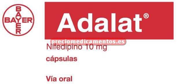 Caja ADALAT 10 mg 50 cápsulas