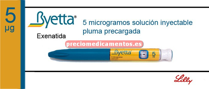 Caja BYETTA 5 mcg/dosis 1 pluma precargada 60 dosis