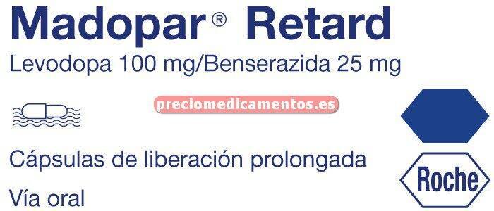 Caja MADOPAR RETARD 100/25 mg 100 cápsulas lib control