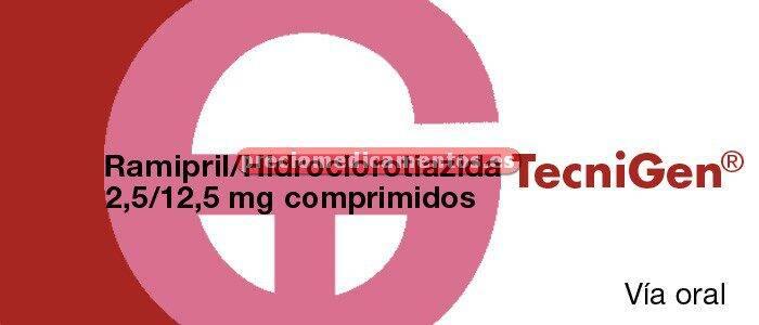 Caja RAMIPRIL/HIDROCLOROTIAZIDA TECNIGEN EFG 2,5/12,5mg 28 compr
