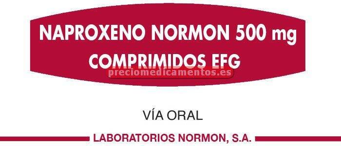 Caja NAPROXENO NORMON EFG 500 mg 40 comp rec