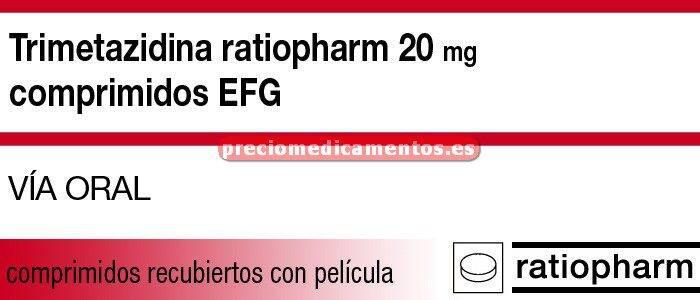 Caja TRIMETAZIDINA RATIOPHAM EFG 20 mg 60 comprim recub