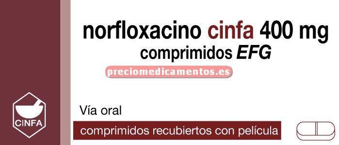 Caja NORFLOXACINO CINFA EFG 400 mg 14 comprimidos recub