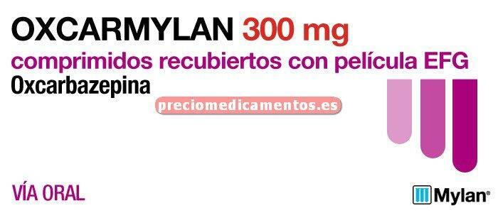 Caja OXCARBAZEPINA MYLAN EFG 300 mg 100 comprimidos rec