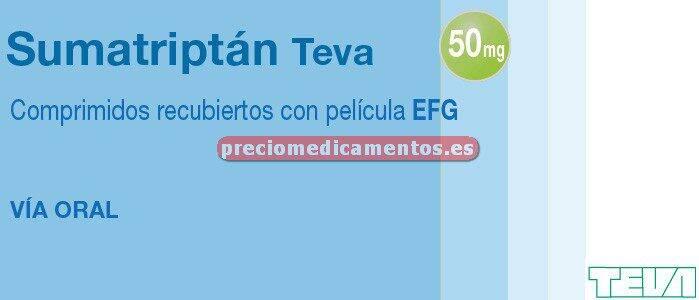 Caja SUMATRIPTAN TEVA EFG 50 mg 4 comprimidos