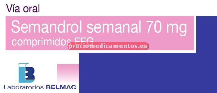 Caja SEMANDROL SEMANAL EFG 70 mg 4 comprimidos