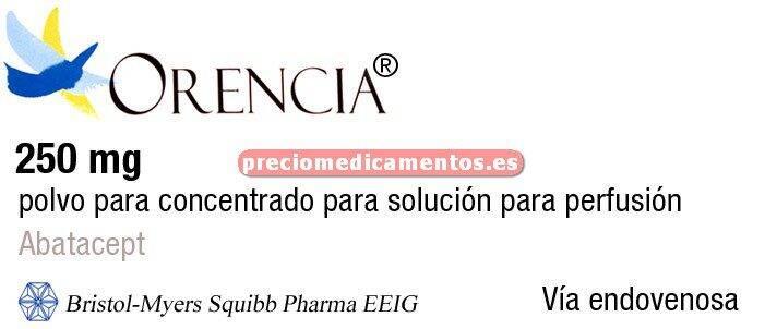 Caja ORENCIA 250 mg 1 vial polvo - 1 jeringa solución perfusión