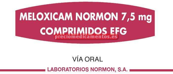 Caja MELOXICAM NORMON EFG 7.5 mg 20 comprimidos