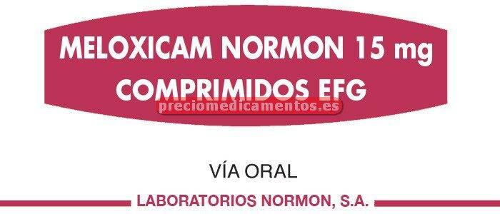 Caja MELOXICAM NORMON EFG 15 mg 20 comprimidos