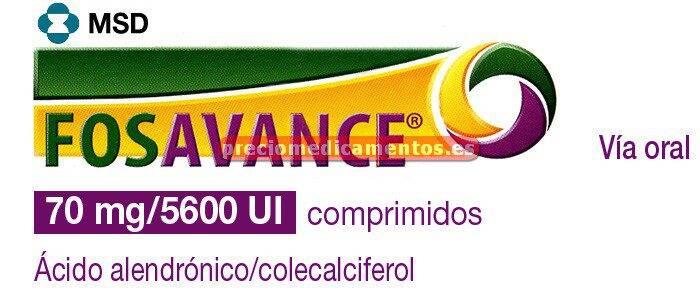 Caja FOSAVANCE 70 mg/140 mcg (5600 UI) 4 comprimidos