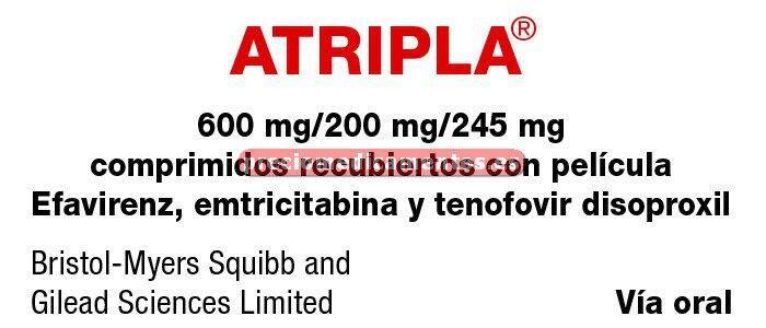Caja ATRIPLA 30 comprimidos recubiertos