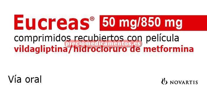 Caja EUCREAS 850/50 mg 60 comprimidos recubiertos