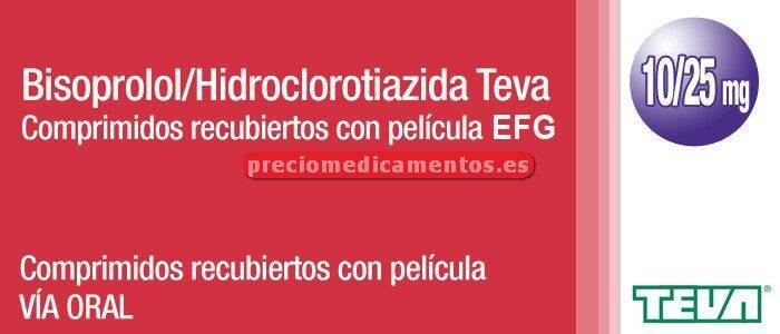 Caja BISOPROLOL/HCTZ TEVA EFG 10/25 mg 28 compr recub