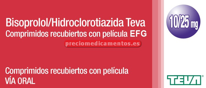 Caja BISOPROLOL/HCTZ TEVA EFG 10/25 mg 56 compr recub