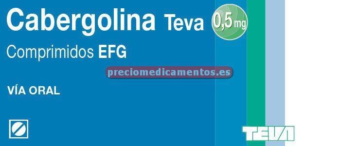 Caja CABERGOLINA TEVA EFG 0.5 mg 2 comprimidos