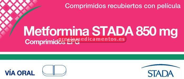 Caja METFORMINA STADA EFG 850 mg 50 comprimidos rec