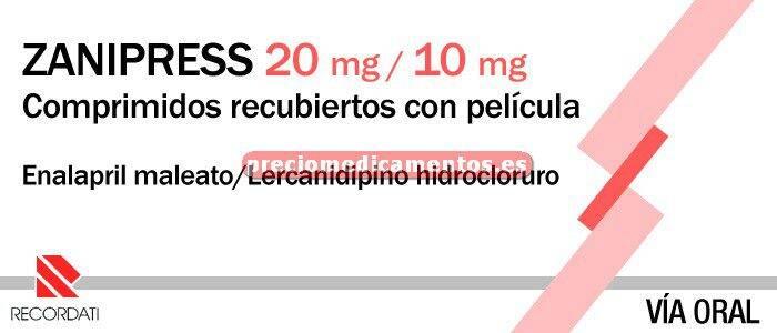 Caja ZANIPRESS 20/10 mg 28 comprimidos recubiertos